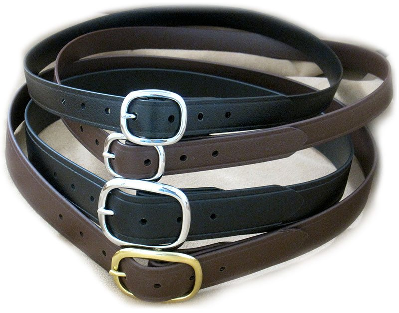 1 inch BioThane Super Belts in Black and Brown with 1.5 Inch front