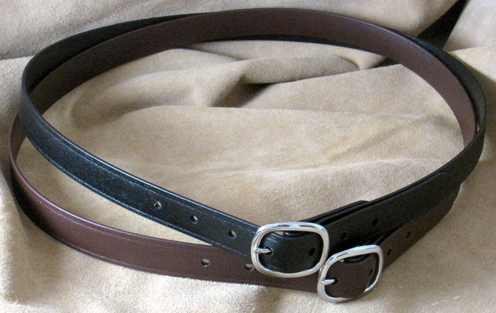1 inch width BioThane Super Belts in Black and Brown